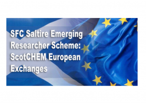 """Scottish flag of white cross on blue background, merged with the European flag of yellow stars on a blue background. Symbolising collaboration between Scotland and Europe. Words overlain: """"SFC Saltire Emerging Researcher Scheme: ScotCHEM European Exchanges"""""""